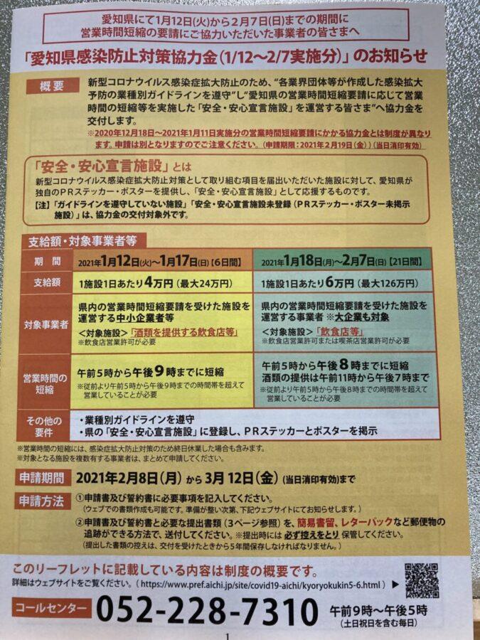 愛知県感染防止対策協力金申請について