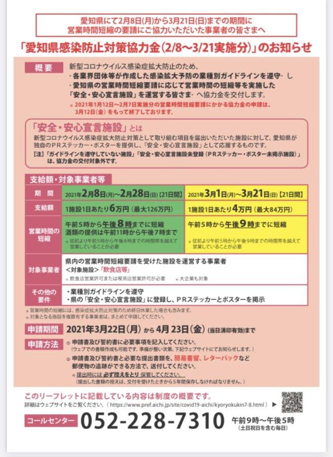愛知県感染防止対策協力金2/8〜3/21実施分のお知らせ